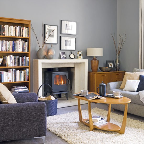 Living Room Ideas Grey: Grey And Blue Living Room