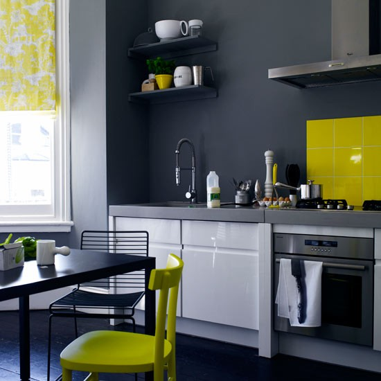 charcoal grey kitchen with white gloss units and yellow splashback 20 ways with paint. Black Bedroom Furniture Sets. Home Design Ideas