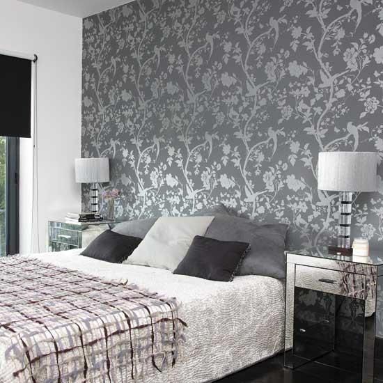 Bedroom Wallpaper Patterns: Bedroom With Patterned Wallpaper