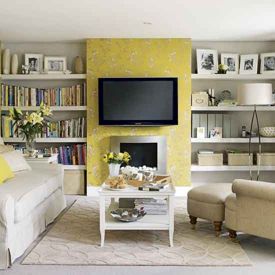 Pale Grey Living Room With Yellow Fireplace: Yellow Living Room