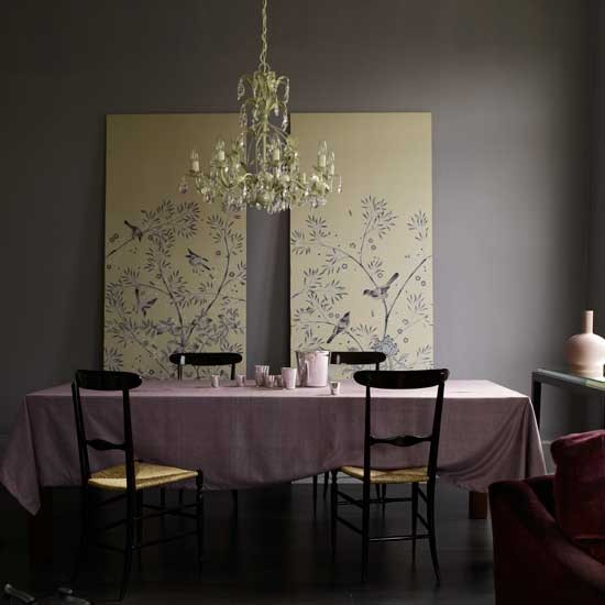 Dramatic Dining Room Design: Dramatic Purple Dining Room