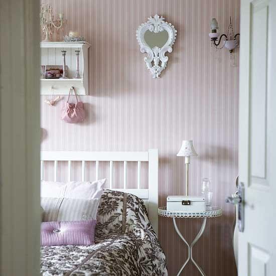 Pink striped bedroom modern designs wallpaper - Pink and white striped wallpaper bedroom ...
