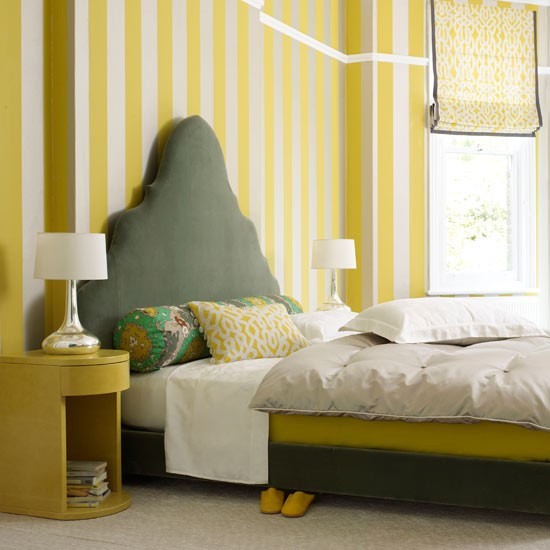 Yellow And Grey Bedroom Themes: Play With Pattern Proportions