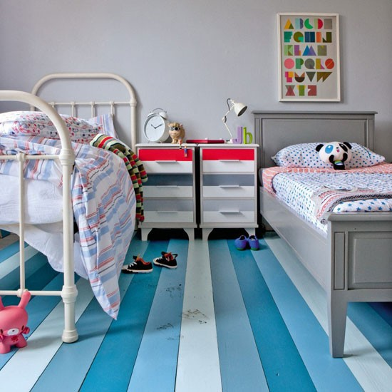 Decorating With Stripes For A Stylish Room: Boys' Twin Bedroom With Striped Floorboards