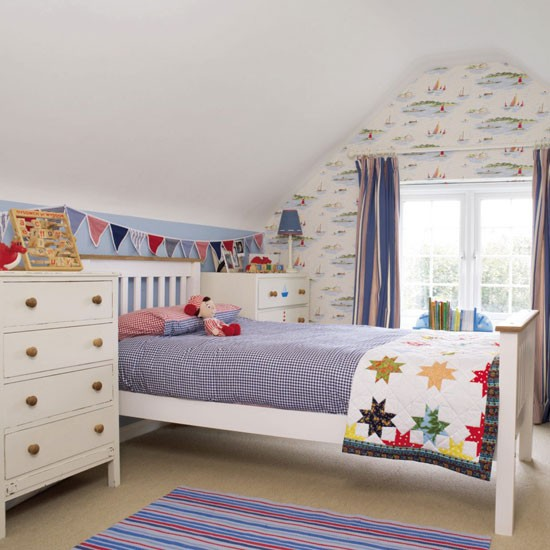 Boys' Bedroom With White-painted Furniture