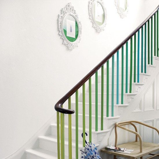 Paint Ideas For Hall Stairs And Landing: Green And Blue Colour Schemes - Home Trends