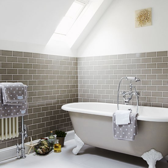 Light Grey Tiles For Bathroom: Flat, Light Grey Metro Tiles