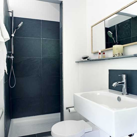 Black And White Bathroom Decorating Ideas: Small Black And White Shower Room