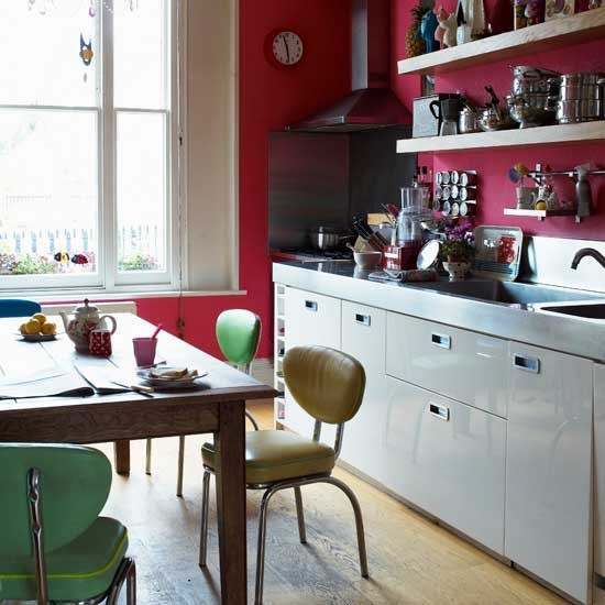red retro kitchen kitchen ideas shelving. Black Bedroom Furniture Sets. Home Design Ideas