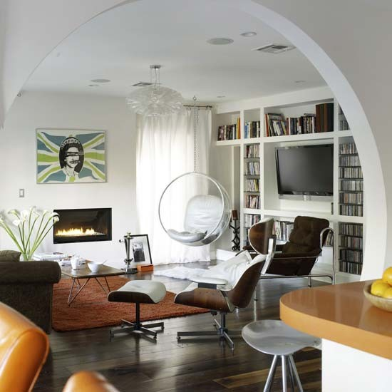 Open Plan Living Room Decor: White And Wood Living Room