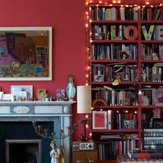 Living Room Storage Systems: Red Living Room Storage