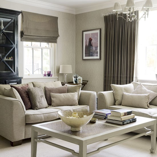 Room Decor Furniture Interior Design Idea Neutral Room: Neutral Living Room