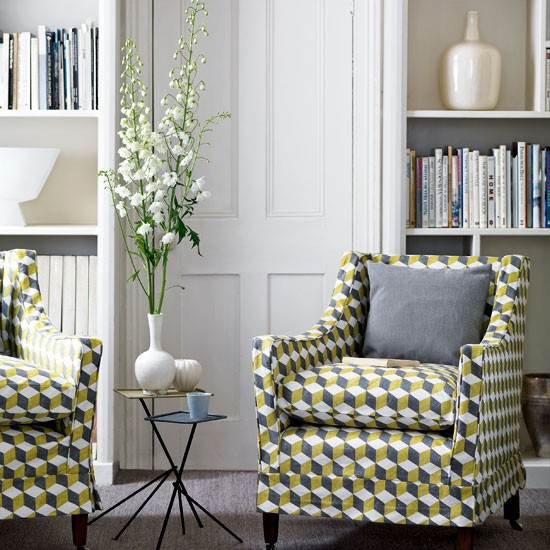 Living room with geometric print | Living rooms ...