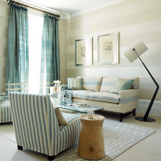 Blue Striped Living Room