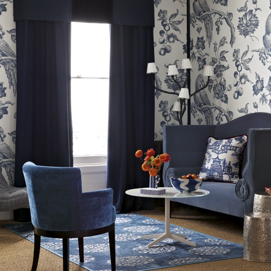 Bold Room Designs: Blue Living Room With Bold Wallpaper