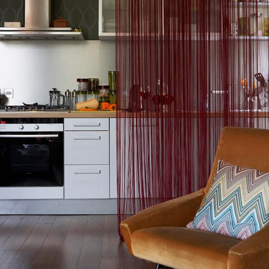 How To Divide An Open Plan Space 9 Ideas: Kitchen With Fringed Curtain
