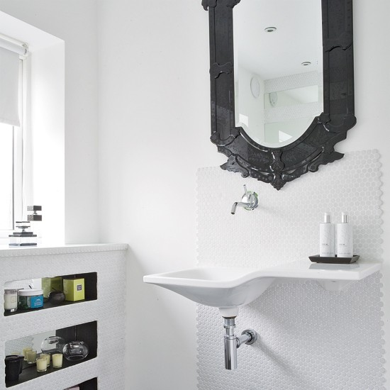Modern Mirrors For Bathrooms: White Bathroom With Black Mirror