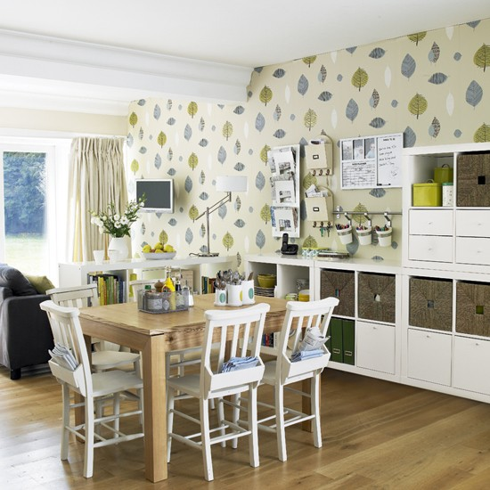 Dining Room Wall Paper: Fresh Open-plan Dining Room