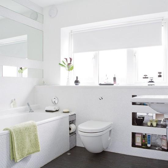 Textured White Bathroom Tiles