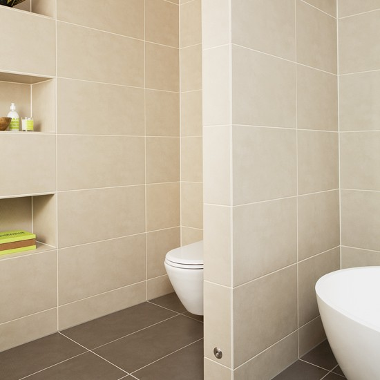 Beige Bathrooms: Beige Bathroom With Stud Wall