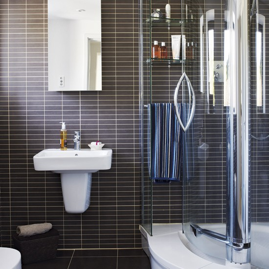Small Ensuite Bathroom Tile Ideas: Black And White Ensuite Bathroom