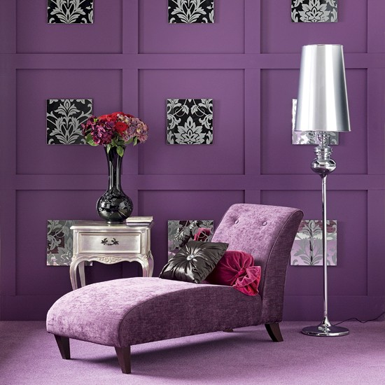 Purple Living Room Ideas: Purple Living Room With Chaise