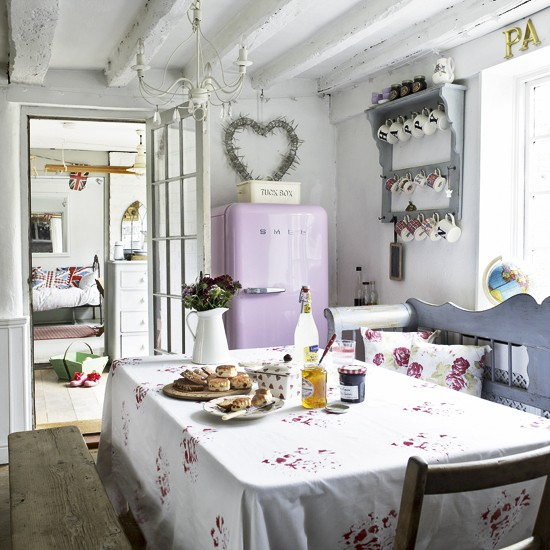 Country Kitchen Decorating Ideas: White Country Kitchen-diner With Pink Fridge-freezer