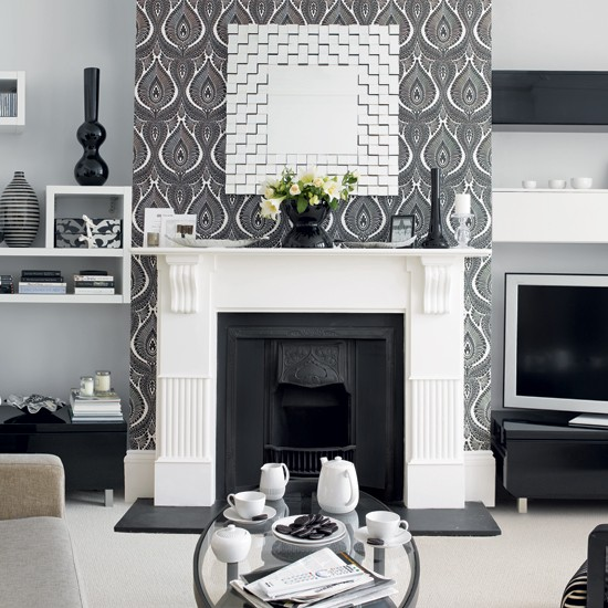 Living Room With Monochrome Wallpaper Wallpaper Ideas
