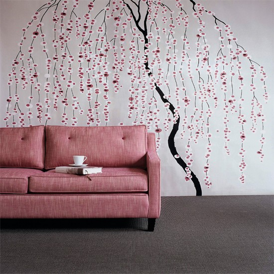 Floral stencil living room wallpaper ideas for living - Feature wall ideas living room wallpaper ...