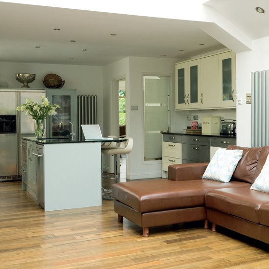 Transitional Open Plan Kitchen With Living Room Access: Family Kitchen Extension