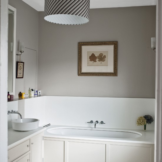Pale Grey Bathroom With Traditional Fittings And Fixtures
