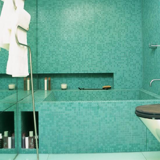 Bathroom Tile Designs Photo Gallery: Spa-style Turquoise Mosaic Bathroom Tiles