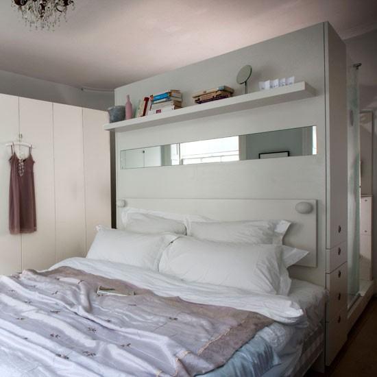Open Bedroom Storage: Oversized Headboard Room Divider