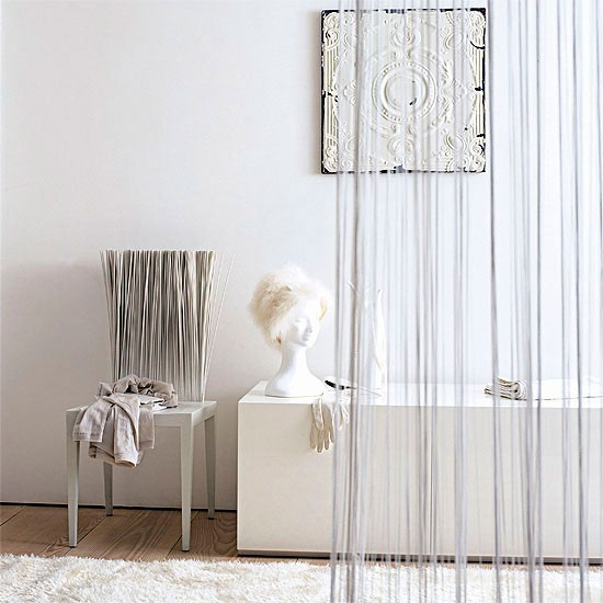 Subtle White Room Divider Curtain