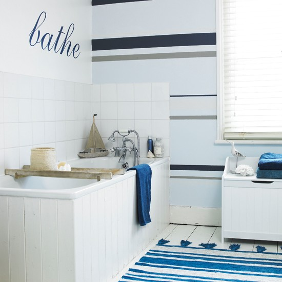 Bath Wallpaper Ideas: Nautical Striped Bathroom Wallpaper