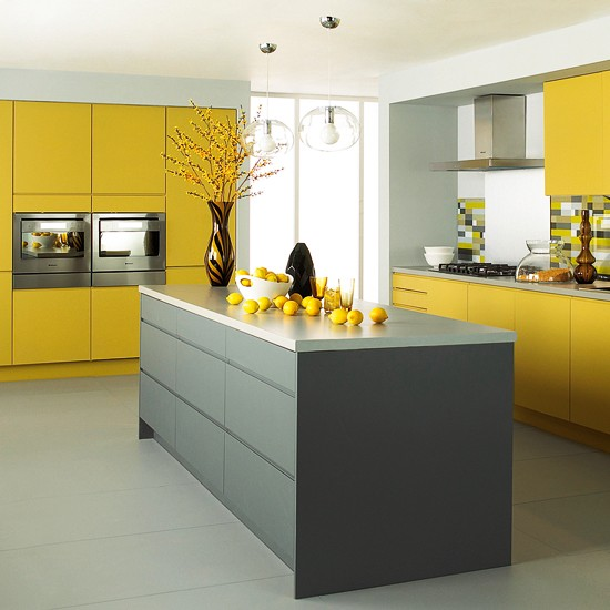 matt grey and yellow kitchen from jewson mixed finish kitchens 10 best. Black Bedroom Furniture Sets. Home Design Ideas