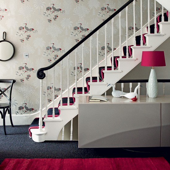 Add a touch of colour 10 wallpaper ideas for hallways - How to wallpaper stairs and landing ...
