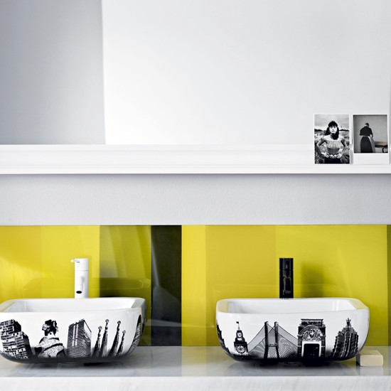Bright Yellow Bathroom Colors: Statement Bathroom With Bright Yellow Splashback