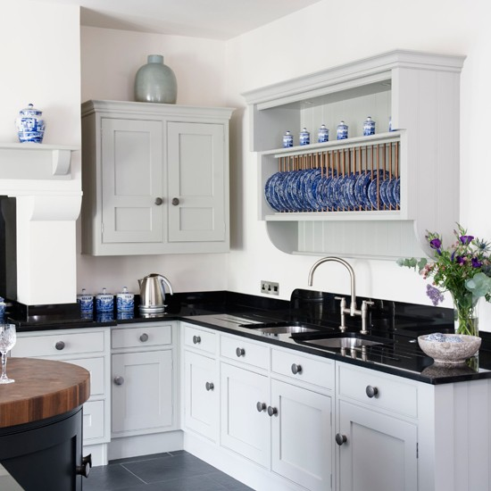 Country White Kitchen Cabinets: Black, White And Blue Country Kitchen