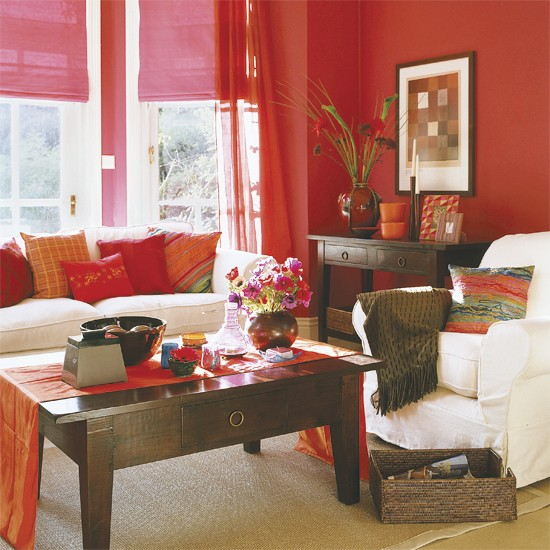 Bright Orange Living Room Accessories: 5 Ways With Reds, Purples And Pinks