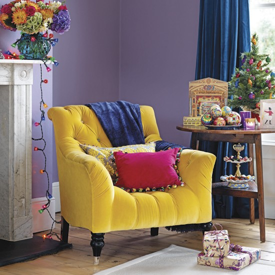 Vibrant Purple And Yellow Living Room Decorating With