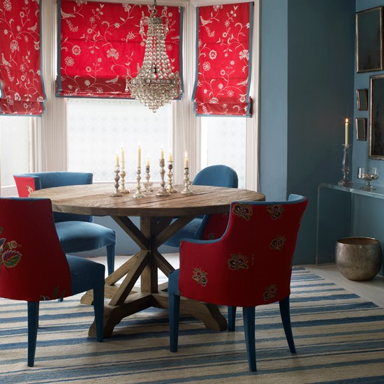 Red And Black Dining Room Ideas: Classic Red And Blue Dining Room
