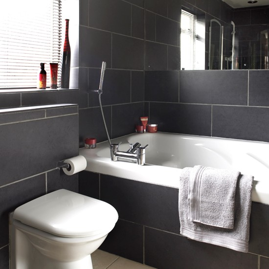 Charcoal Tile Bathroom: Black And White Bathroom Designs