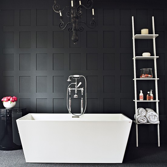 Black White And Silver Bathroom: Contemporary Black-and-white Bathroom
