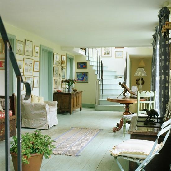 Blue Stained Floorboards Hallway Flooring Ideas