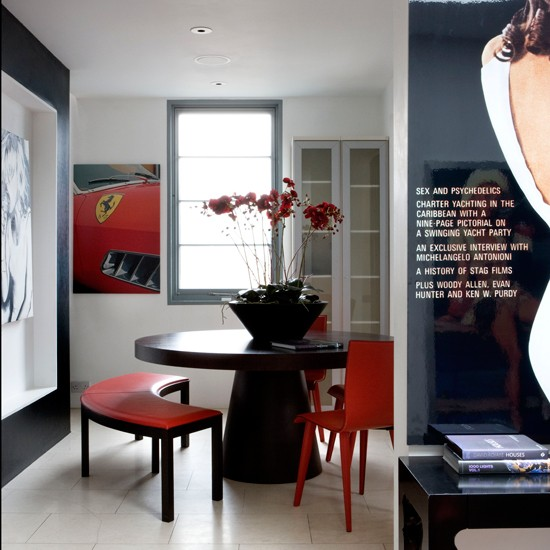 Black, Red And White Dining Room