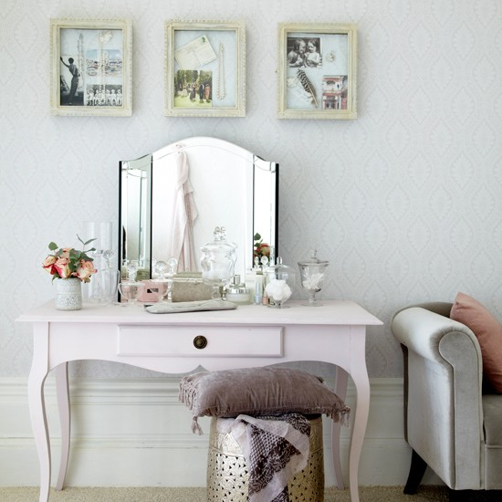 Bedroom Dressing Area With Pearl Accents