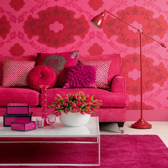 Pink Living Room Ideas: Pink Houses Decor Interior Design Colors
