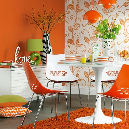 Modern Orange Dining Room