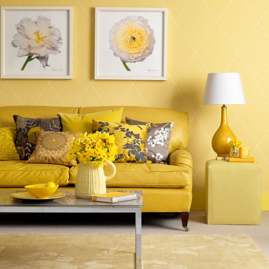 Yellow Room: Traditional-style Yellow Living Room
